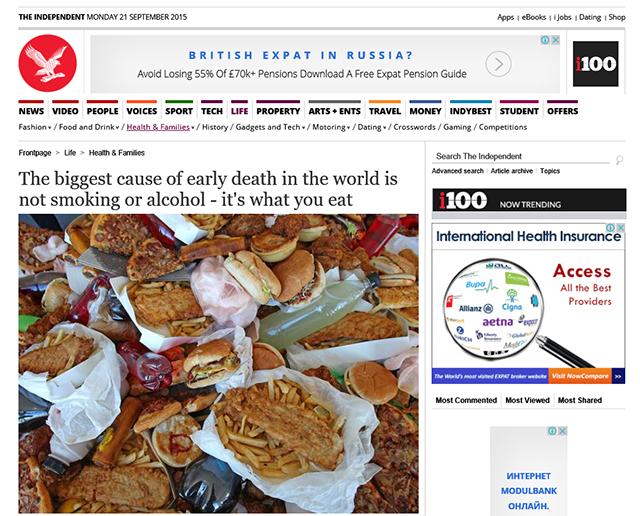 Нездоровое питание, причины преждевременной смерти